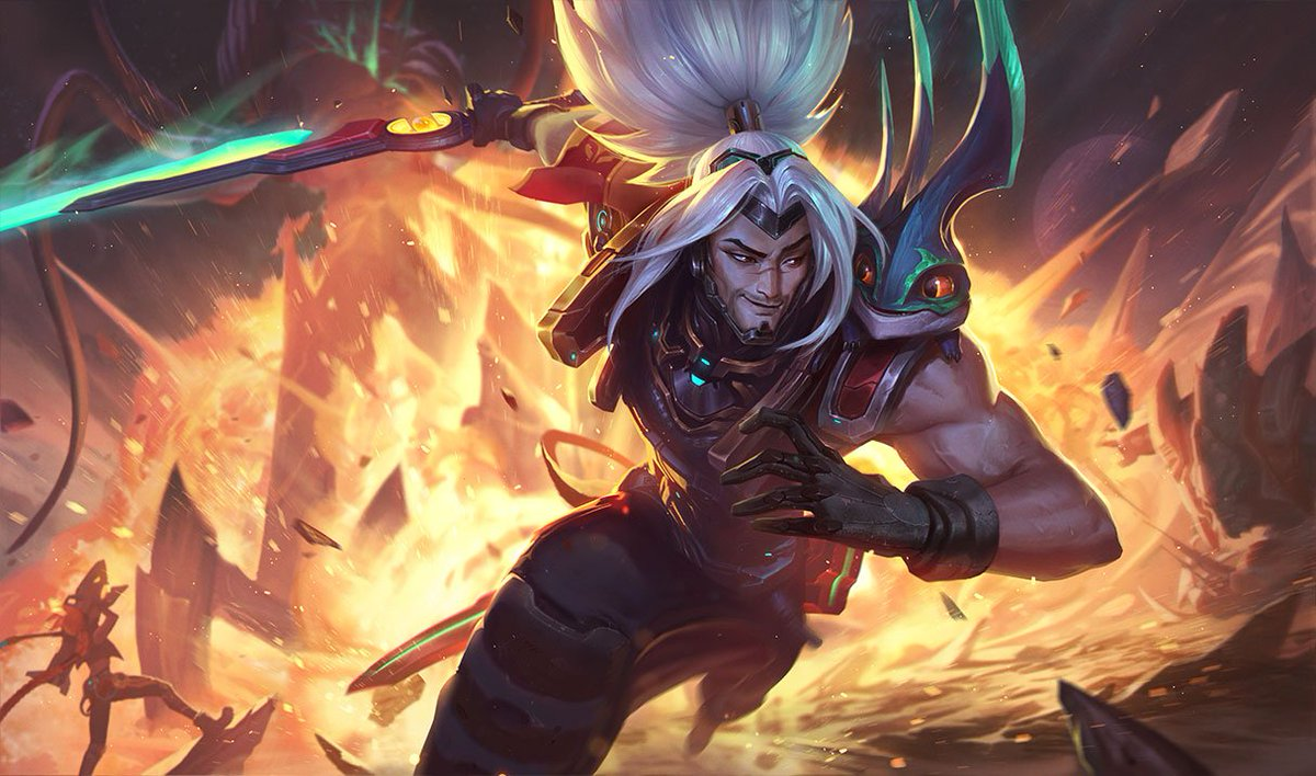 Why does Yasuo take a sip of his flask and then spits it on the sword in some of his skins?